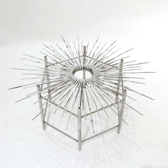 Bespoke Brutalist Welded Steel Sunburst With Thick Oval Glass Top Table For Sale In New York - Image 6 of 11