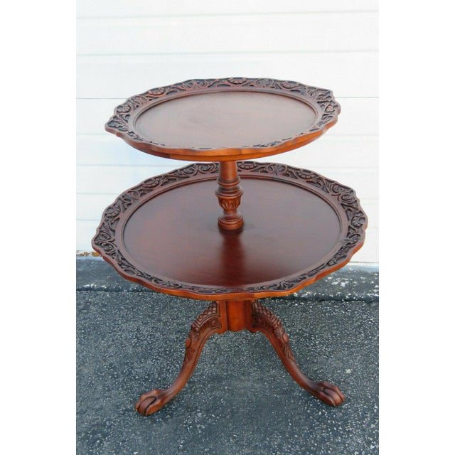 Mahogany Two Tier Hand Carved Pie Crust Round Side Table For Sale - Image 11 of 11