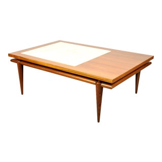 Widdicomb Walnut and Marble Coffee Table with Floating Top For Sale