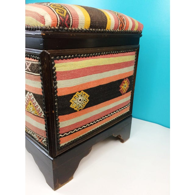 Textile Antique Turkish Kilim Cedar Storage Trunk Bench For Sale - Image 7 of 10