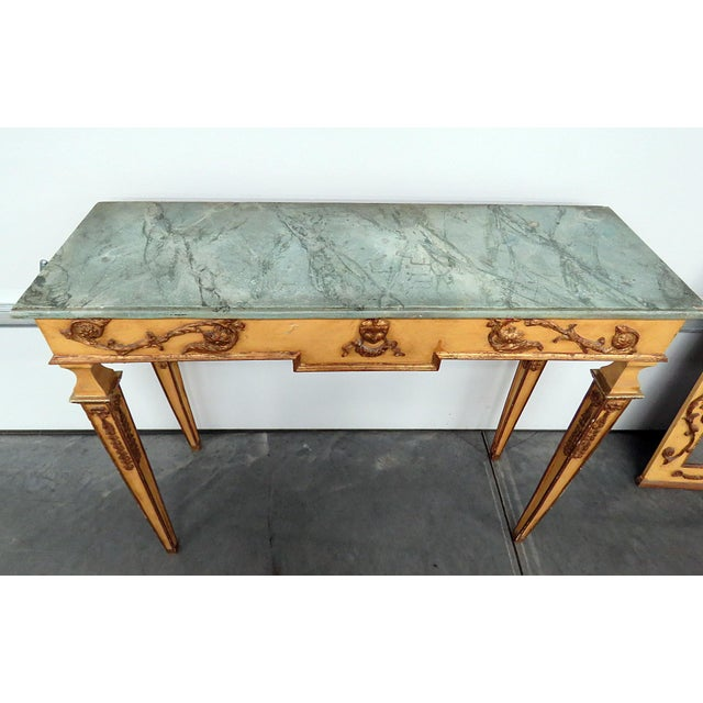 Early 20th Century Neoclassical Style Paint Decorated Console & Mirror For Sale - Image 5 of 13