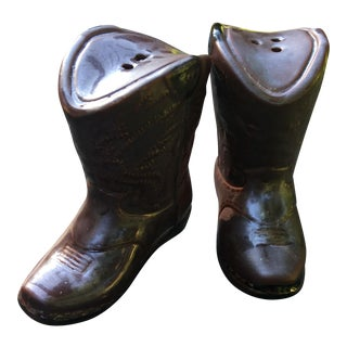 Cowboy Boot Ceramic Salt & Pepper Shakers - A Pair For Sale