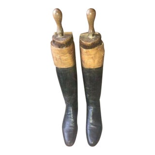 Late 20th Century English Antique Leather Tall Riding Boots- A Pair For Sale
