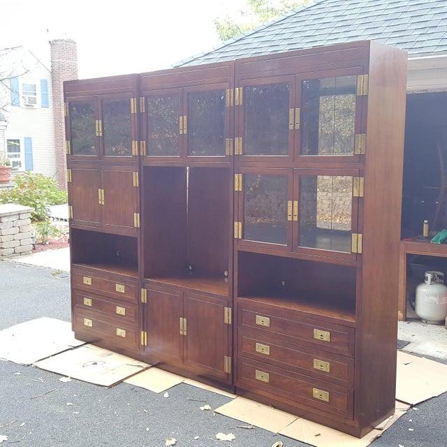 Henredon Campaign Illuminated Cabinets - Set of 3 - Image 3 of 11