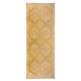 "Antique Agra Beige Gold and Red Cotton Runner-6'2'x15'9"" For Sale"