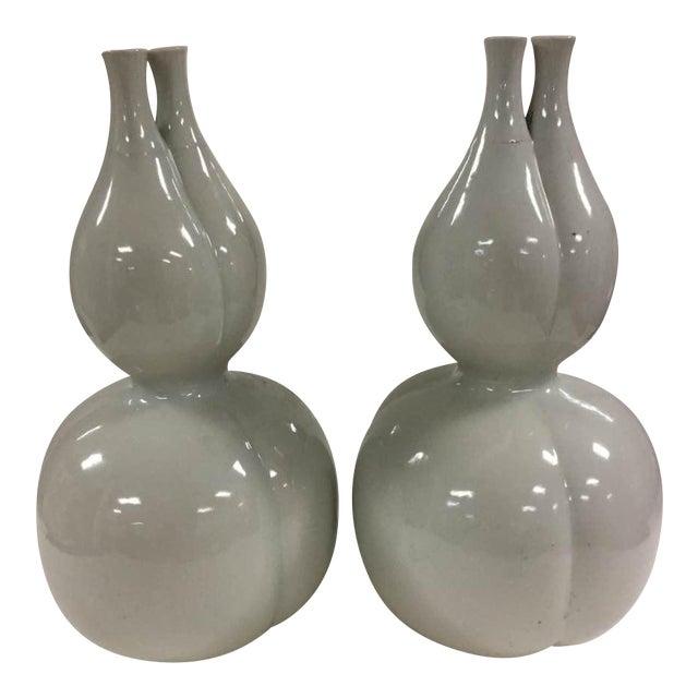 Off White Glazed Gourd Vases A Pair Chairish