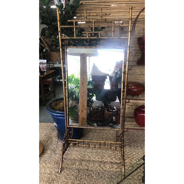 Gold Faux Bamboo Floor Mirror For Sale - Image 10 of 10