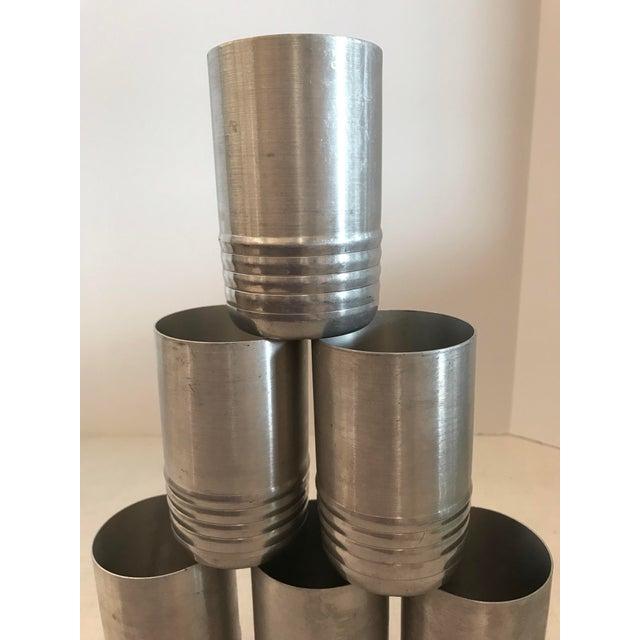 Set Of Six vintage Aluminum Tumblers. Ribbed Design on bottom.