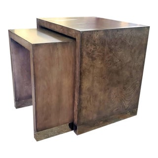 Lexington Furniture Brentwood Deerbrook White Ash Burl & Cherry Nesting End/Side Tables For Sale