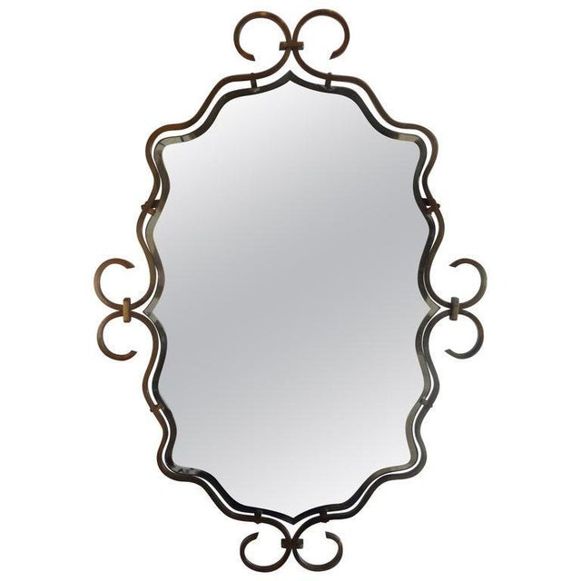 Metal 1940s Vintage Raymond Subes Style French Art Deco Bronze Mirror For Sale - Image 7 of 8