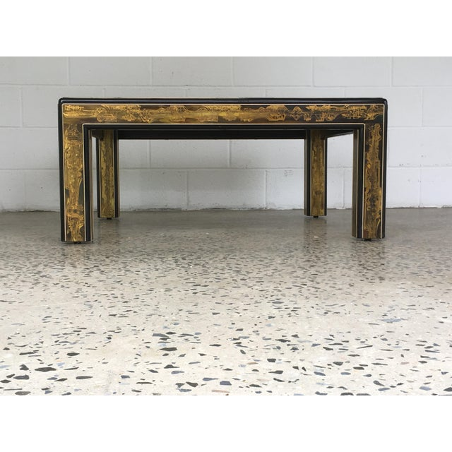 Mid-Century Modern Mastercraft Black Lacquer and Etched Brass Cocktail Table by Bernard Rohne For Sale - Image 3 of 10