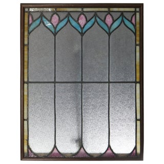 Antique Arts & Crafts Stylized Floral Leaded Slag Glass Window Panel, Circa 1910 For Sale