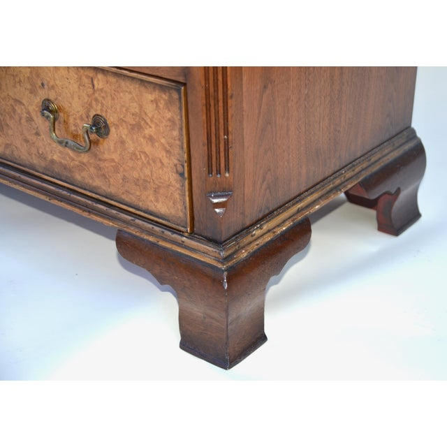 English Georgian Style Walnut Burl Chest of Drawers For Sale - Image 9 of 11