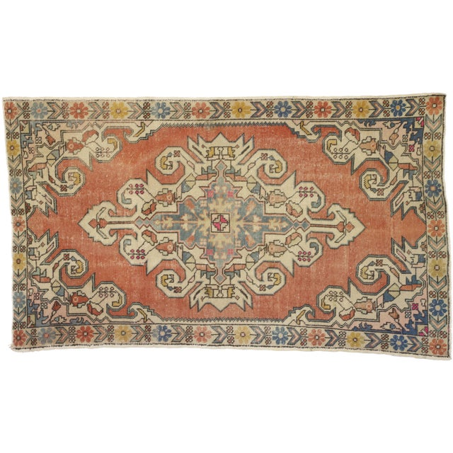 Distressed Vintage Turkish Oushak Rug With Art Deco Style - 4'05 x 7'07 For Sale - Image 9 of 9
