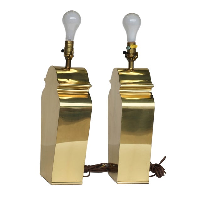 Mid-Century Chapman Brass Table Lamps - A Pair - Image 9 of 10