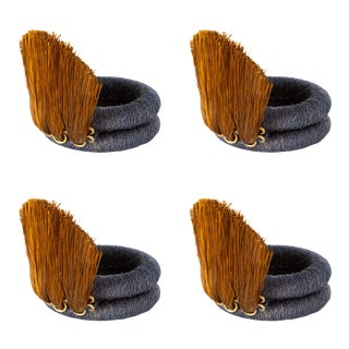 Fan Sisal Napkin Ring in Ink and Tobacco - Set of 4 For Sale