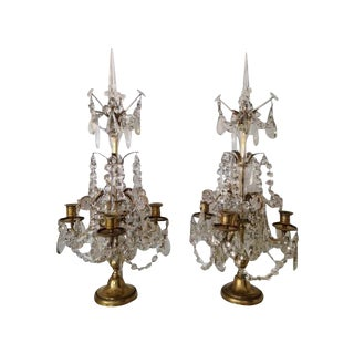 Regency Style Brass & Crystal Candelabras - A Pair For Sale