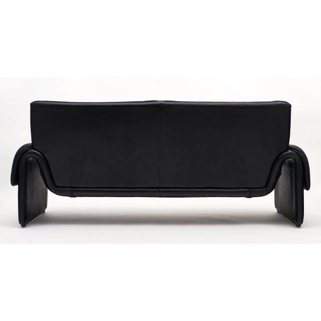 Black Vintage De Sede Black Leather Sofa For Sale - Image 8 of 11