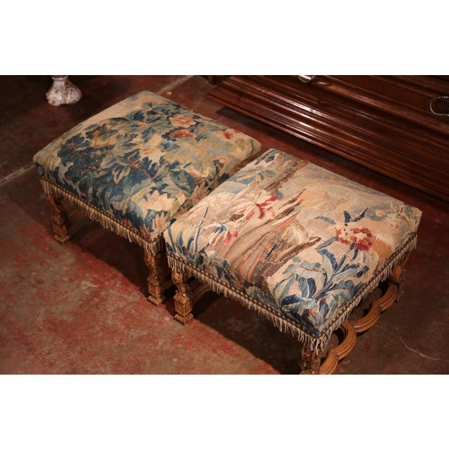 French 19th Century French Louis XIV Carved Walnut Aubusson Stools - a Pair For Sale - Image 3 of 9