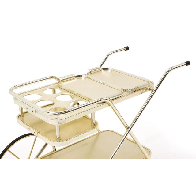 Mid-Century Modern Bar / Serving Cart With Trays. Anodized Aluminum,Stainless and Chromed Steel. For Sale - Image 3 of 10