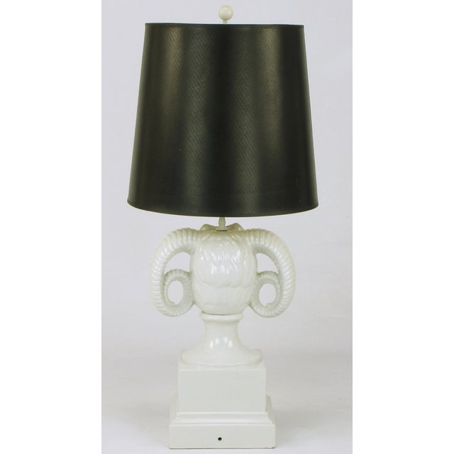 1960s Chapman White Ceramic Ram's Head Table Lamp For Sale - Image 5 of 8