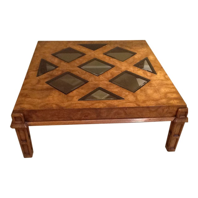 Wood Coffee Table With Smoked Glass Top Insert - Image 1 of 10