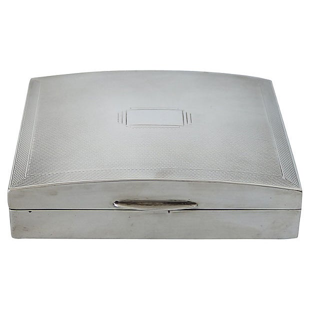 Art Deco English Sterling Cigarette Box - D. 1940 For Sale - Image 4 of 6
