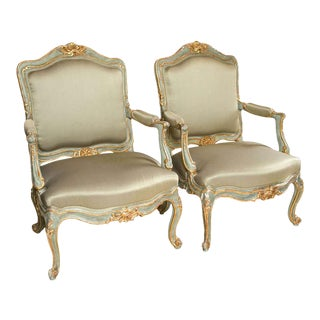 Pair of Louis XVI Style Armchairs / Bergeres Parcel-Gilt and Paint Decorated For Sale