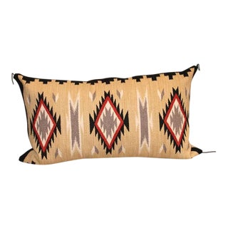 Geometric Eye Dazzler Navajo Indian Weaving Bolster Pillow For Sale
