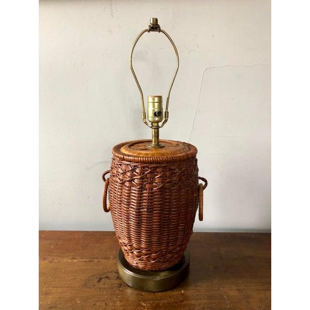 Wicker Vintage Wicker Ginger Jar Table Lamp For Sale - Image 7 of 7