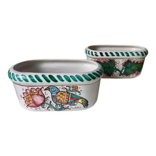 2 Italian Hand-Painted Ceramic Planters-Gubbio