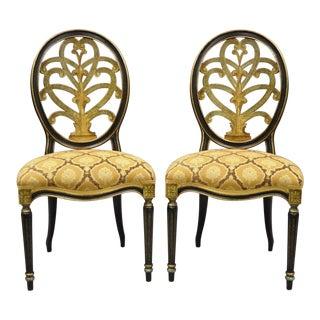 Late 20th Century Galimberti Lino Italian Regency Hepplewhite Adams Style Chairs- A Pair For Sale