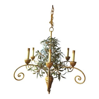 1960s Italian Six Arm Gilt and Tole Chandelier With Olive Leaves and Fruit For Sale