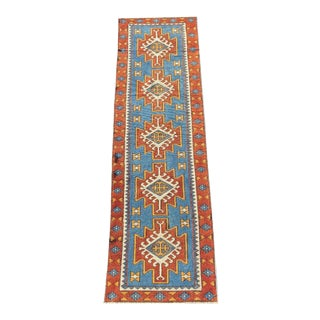"1960s Turkish Oushak Blue, Red and Yellow Wool Narrow Runner - 31"" X 100"""