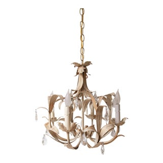 Mid-Century Italian Tropical Leaf Motif & Crystal Chandelier For Sale