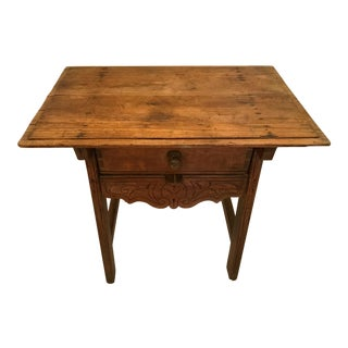 Vintage Country Spanish Wooden One Drawer Small Table For Sale