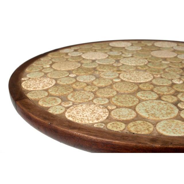 1950s Gordon Martz Oatmeal Tile Top Pedestal Table For Sale - Image 5 of 5