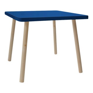 "Tippy Toe Small Square 23.5"" Kids Table in Maple With Pacific Blue Finish Accent For Sale"