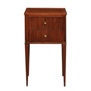 French Mahogany Turn of the Century Side Table with Two Drawers and Tapered Legs