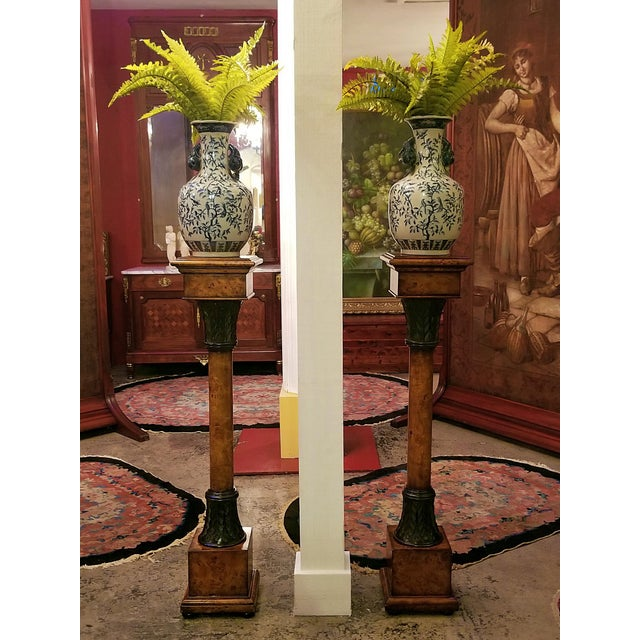Theodore Alexander Biedermeier Burl Yewood and Bronze Mounted Pillars - a Pair For Sale - Image 9 of 13
