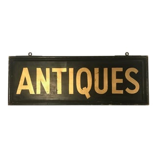 Vintage Metal Double Sided Original Hand Painted and Gold Leaf Trade Sign For Sale