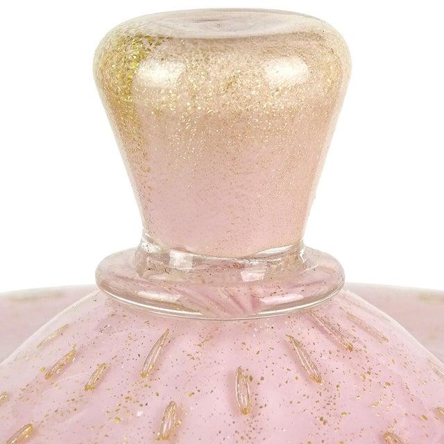 Barbini Vintage Alfredo Barbini Murano Pink Gold Flecks Italian Art Glass Mid Century Vanity Bottles - Set of 3 For Sale - Image 4 of 7