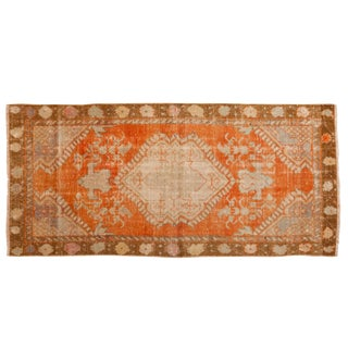 "Vintage Distressed Oushak Rug Runner - 2'4"" X 5' For Sale"