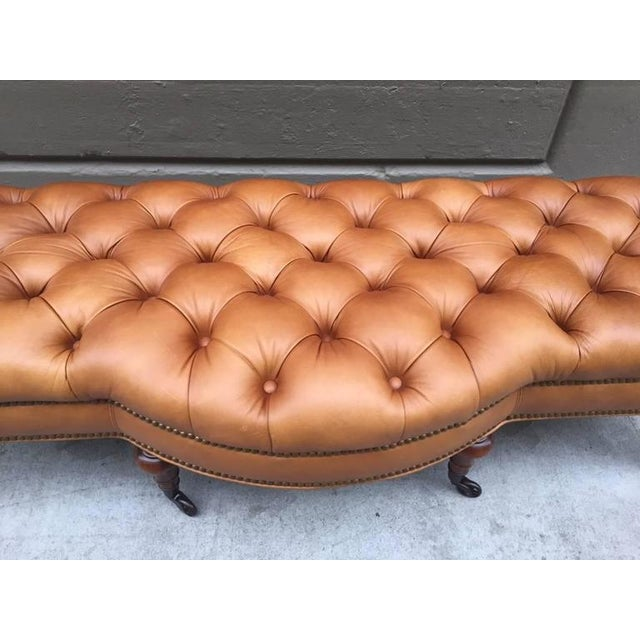 George Smith George Smith Tufted Leather Bench For Sale - Image 4 of 5