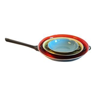 Colorful Enamel Coated Saute Pans - Set of 4