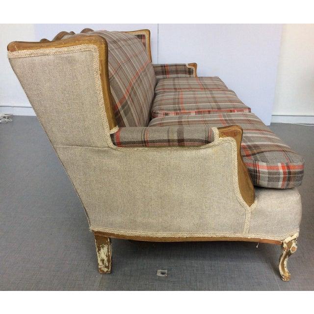 French-Style Tartan Wool Sofa - Image 3 of 6