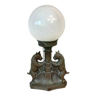 Antique Cast Iron Scottie Dog Globe Table Lamp For Sale