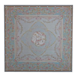 "Pasargad Aubusson Hand Woven Wool Rug - 9'10"" X 10' 0"" For Sale"