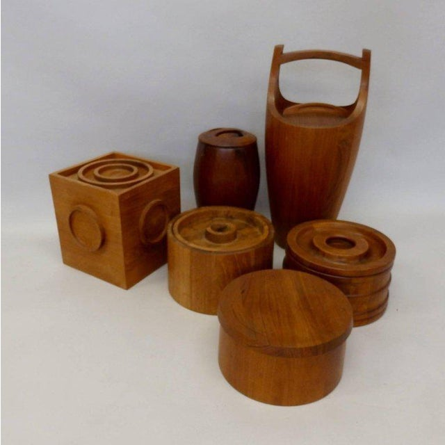 All five Danish teak ice buckets are Dansk designed by Jens Quistgaard. All five are made in Denmark. All five in very...