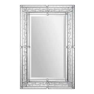 Vincenzo Etched All Glass Rectangular Wall Mirror For Sale